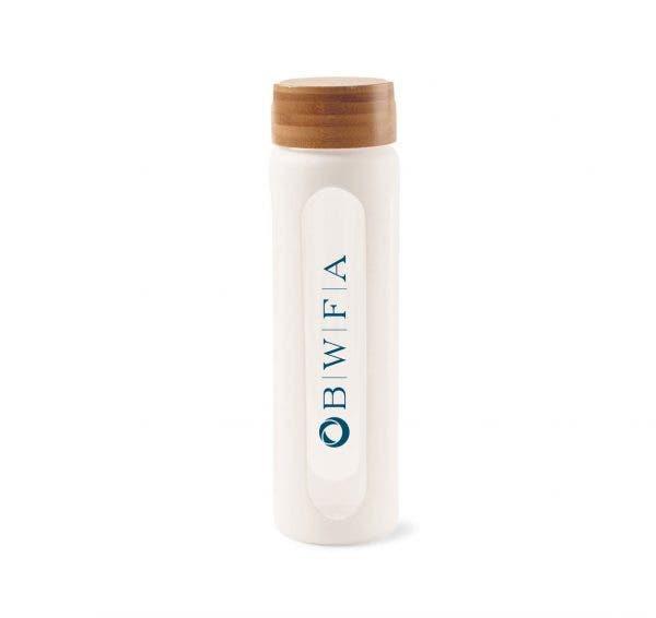 Gemline White Bali Bamboo Glass Bottle – 25oz