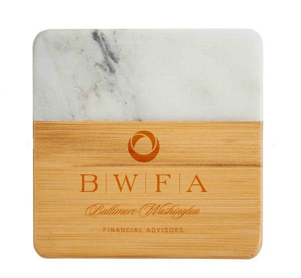 Leed's Natural/White Marble and Bamboo Coaster Set